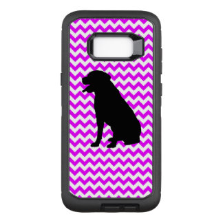 Perfectly Pink Chevron With Lab Silhouette OtterBox Defender Samsung Galaxy S8+ Case