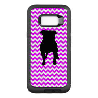 Perfectly Pink Chevron With Pug Silhouette OtterBox Defender Samsung Galaxy S8+ Case