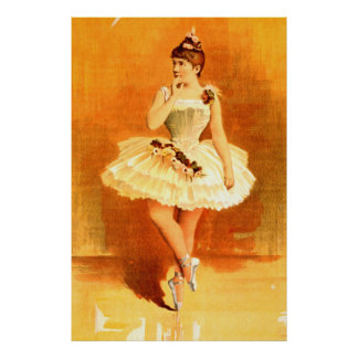 Performing Arts Ballerina Girl 1890 Vintage Poster