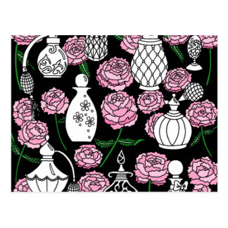 Perfume and Peonies Black Postcard