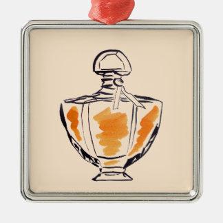 Perfume bottle fashion watercolour illustration metal ornament