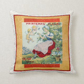 Perfume Label Spring Flowers Vintage Pillows