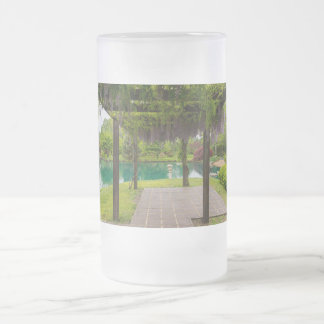 Pergola Of Wisteria Frosted Glass Beer Mug