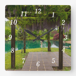 Pergola Of Wisteria Square Wall Clock