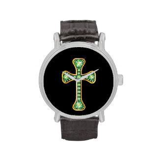 """Peridot"" Christian Cross in Gold Watch"