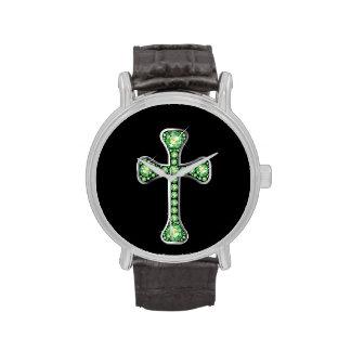 """""""Peridot"""" Christian Cross in Silver Watch"""