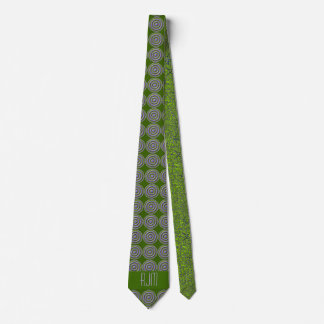 Peridot Green and Purple Paisley | Monogrammed Tie