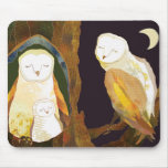 Période tranquille de famille mignonne de hibou tapis de souris