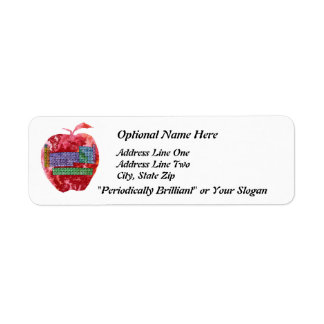 Periodic Table Apple with Customizable Text Return Address Label