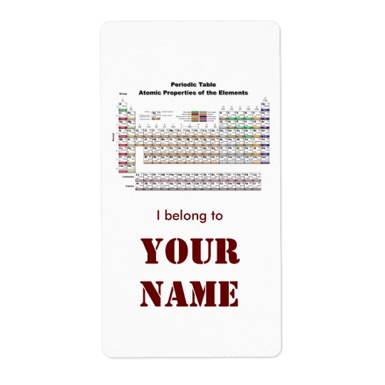 Periodic Table bookplate sticker Shipping Label