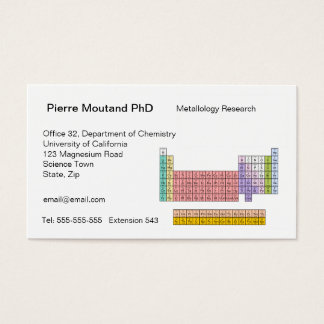 Periodic Table business cards