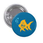 Periodic Table Elemental Gold Fish 1 Inch Round Button