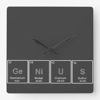 Periodic table GeNiUS square wall clock