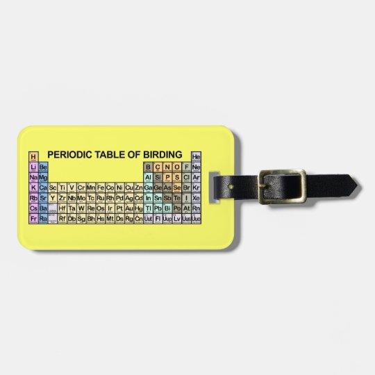 Periodic Table of Birding Bag Tag