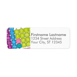 Periodic Table of Elements Return Address Label
