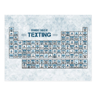Periodic Table of Texting (Blue) Postcard