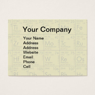 Periodic Table of the Elements Scientific Business Card
