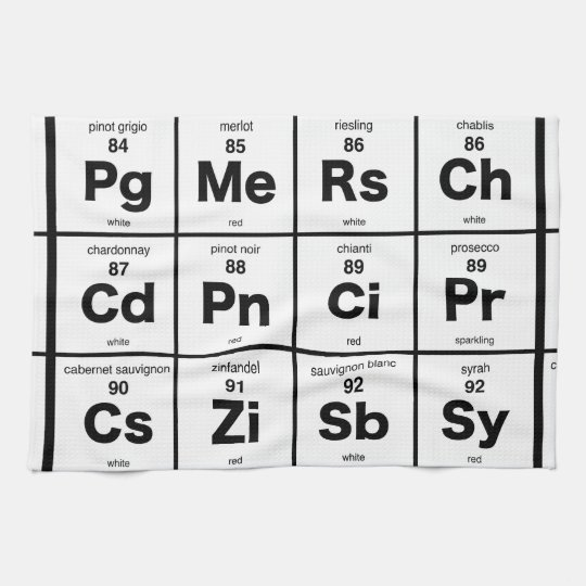 Periodic Table of Wines Kitchen Towel