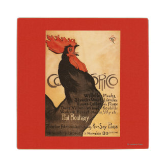 Periodical Cocorico Rooster Promotional Poster Maple Wood Coaster