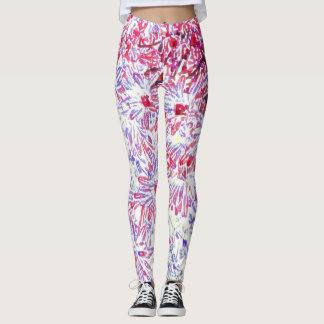 PERIWINKLE AND CYCLAMEN DAISIES ON WHITE GROUND LEGGINGS