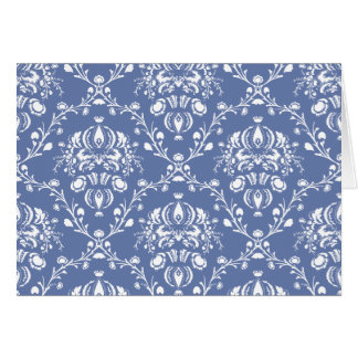 Periwinkle Blue and White Damask Card