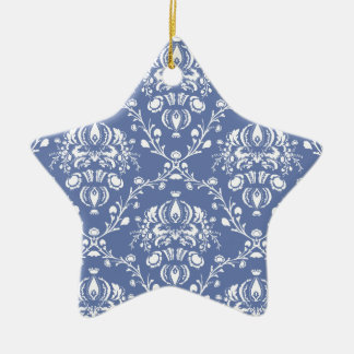 Periwinkle Blue and White Damask Ceramic Ornament
