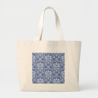 Periwinkle Blue and White Damask Large Tote Bag