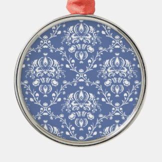 Periwinkle Blue and White Damask Metal Ornament