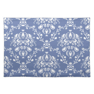 Periwinkle Blue and White Damask Placemat