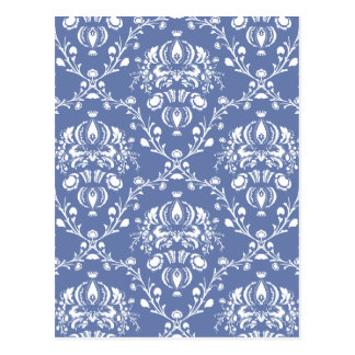 Periwinkle Blue and White Damask Postcard
