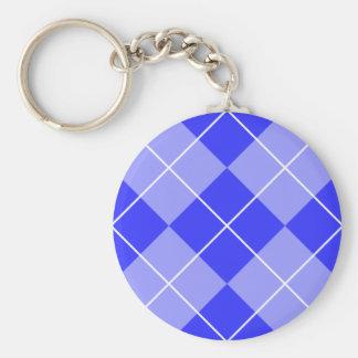 Periwinkle Blue Argyle Basic Round Button Keychain