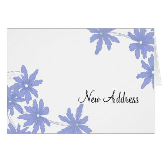 Periwinkle Blue Daises Change of Address Card