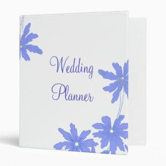 Periwinkle Blue Daisies on White Wedding Vinyl Binder