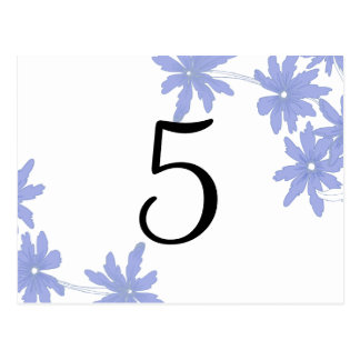Periwinkle Blue Daisies Table Number Postcard