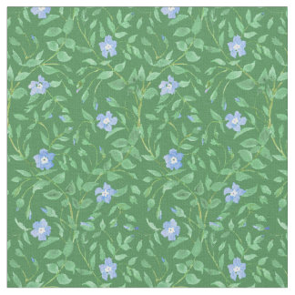 Periwinkle Blue Dark Green Country-style Floral Fabric