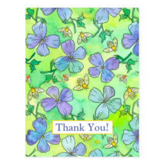 Periwinkle Blue Flowers Bees Thank You Postcard