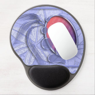 Periwinkle Blue Graphic Heart Oval Photo Frame Gel Mouse Pad