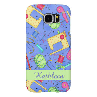 Periwinkle Blue Sewing Notions Name Personalized Samsung Galaxy S6 Cases
