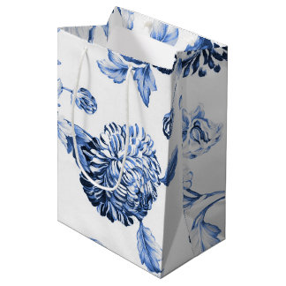 Periwinkle Blue Vintage Botanical Floral Toile Medium Gift Bag