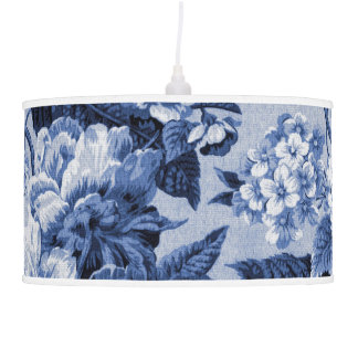 Periwinkle Blue Vintage Botanical Floral Toile Pendant Lamp