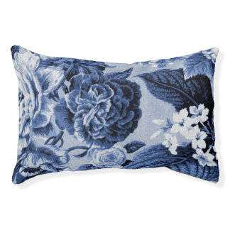 Periwinkle Blue Vintage Floral Toile Fabric No..1 Pet Bed