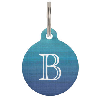 Periwinkle Cyan Gradient Medium Texture Monogram Pet Tag