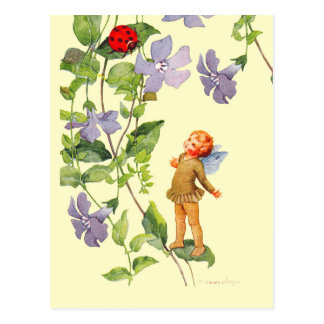 Periwinkle Elf and Ladybug Postcard