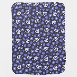Periwinkle Flower Power Skulls Baby Blanket