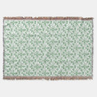 Periwinkle Green White Decorative Chic Floral Throw Blanket