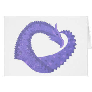 Periwinkle heart dragon on white card