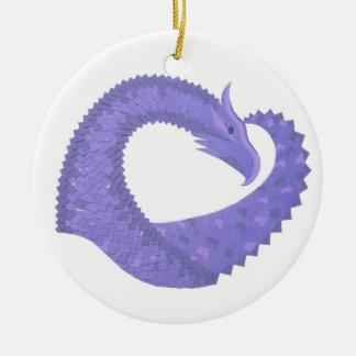 Periwinkle heart dragon on white ceramic ornament
