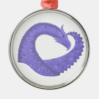 Periwinkle heart dragon on white metal ornament