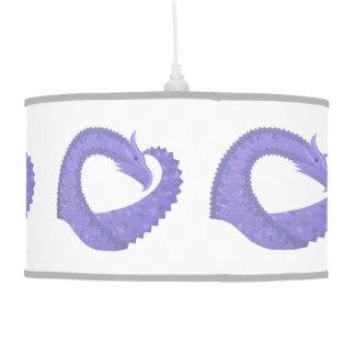 Periwinkle heart dragon on white pendant lamp
