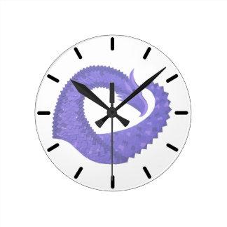 Periwinkle heart dragon on white round clock